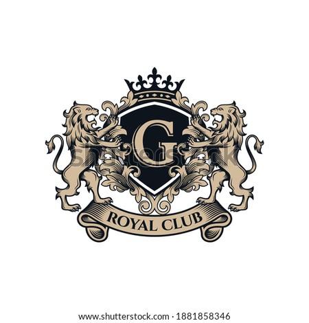 Luxury Golden Royal Lion King logo design inspiration  ストックフォト ©
