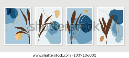 Luxury golden Texture wall art vector set. Marble art design with abstract shape and gold pattern. Design for print, cover, wallpaper, Minimal and  natural wall art. Vector illustration.