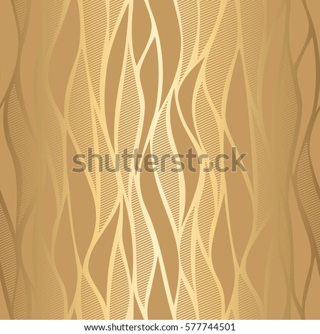 Luxury golden wallpaper. Vintage seamless wave pattern Vector background.