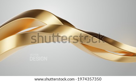 Luxury golden wave shapes isolated on white background. Golden intertwined shape. Abstract luxurious background. Curvy stream. Metallic wave. Vector 3d illustration. Geometric design. Jewelry pattern