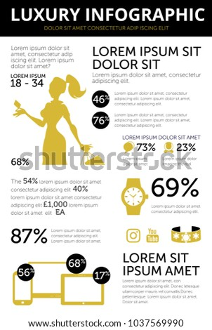 Luxury goods infographic template with simple flat icons