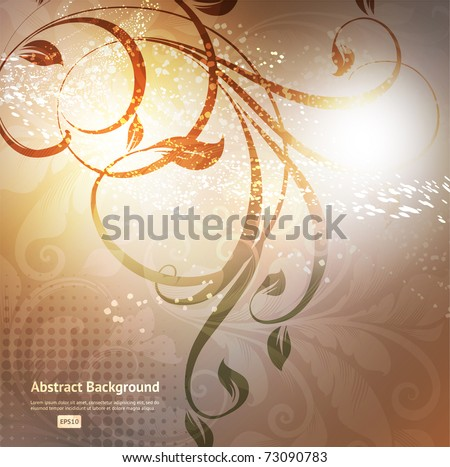 Luxury greeting card. Vector. Floral ornament with flower.