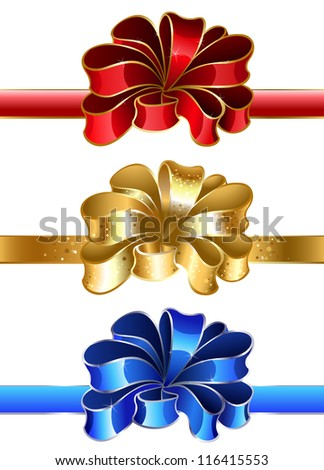 luxury holiday bow of blue, gold and red on a white background.