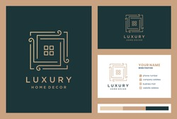 luxury home decoration logo design with business card premium vector.