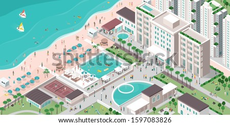 Luxury hotel resort with people, buildings and beach, isometric vector illustration, travel and tourism concept