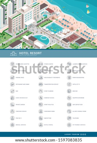 Luxury hotel services icons set and isometric aerial view of the village resort with people, buildings, facilities and beach, tourism and travel concept