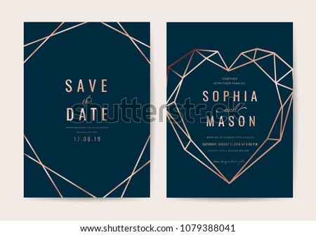 Luxury indigo Wedding Invitation cards with blue background and Geometric rose gold texture vector #1079388041