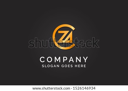 Luxury initial letter CZA golden gold color logo design. Tech business marketing modern vector Zdjęcia stock ©