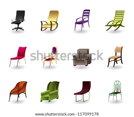 Luxury, interior, office and plastic chairs - vector illustration