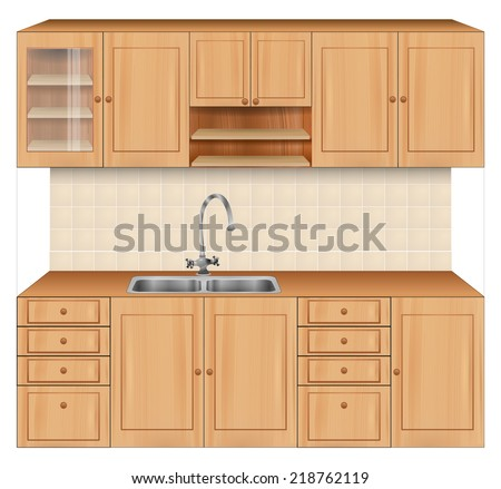 Luxury kitchen room interior with bright wooden texture cabinets and drawers with sink and faucet. beige tiles on wall. Realistic design. vector art image illustration, isolated on white background