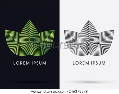 Luxury 3 Leafs, designed using green line,logo, symbol, icon, graphic, vector.