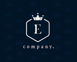 Luxury letter E floral and crown logo. Graceful, royal, Calligraphic beautiful template. Vintage emblem for book design, brand name, business card, Restaurant, Boutique, Hotel, Wedding invitation.
