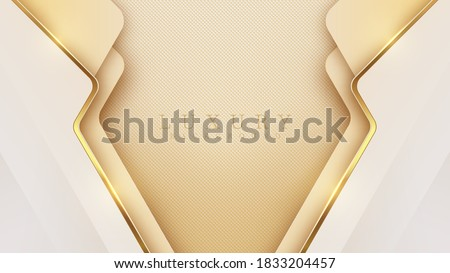 Luxury light yellow pastel abstract background combine with golden lines element, Illustration from vector about modern template deluxe design. Stock photo ©