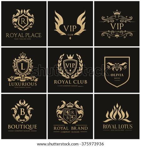 Luxury logo collection,Design for Boutique hotel,Resort,Restaurant, Royalty, Victorian identity, Hotel, Heraldic, Fashion,VIP,Club,education logo Full vector logo template.