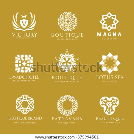 Calligraphic logos set vintage template pattern elegant for Boutique hotel logo