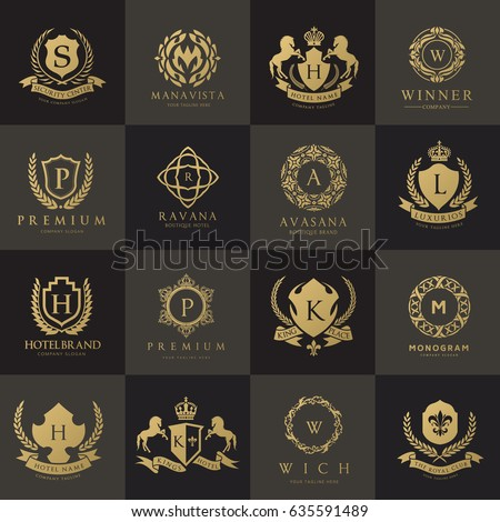 Luxury logo set. Brand identity for hotel , fashion brand, crests set, real estate, vintage icon, vector illustration