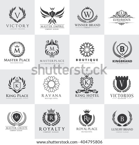 Luxury Logo Set. Design for Hotel and Fashion brand identity