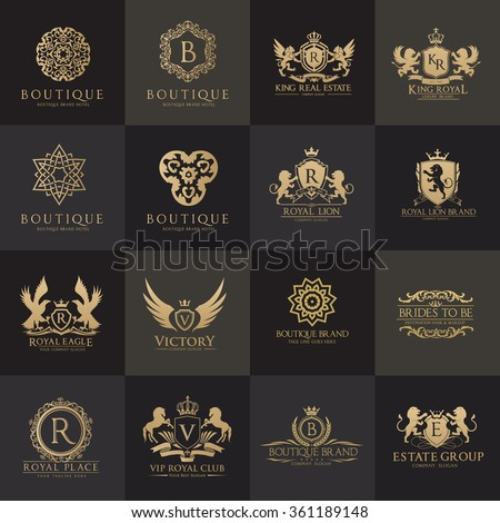 Luxury Logo set with Heraldic crests and Flourishes Calligraphic Monogram design for hotel,Spa,Restaurant,VIP,Fashion and Premium brand identity.