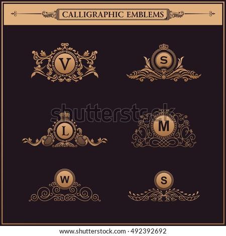 Luxury logos crest monogram. Vintage royal flourishes elements. Calligraphic symbol ornament. Letter in frame , V, S, L, M, W.
