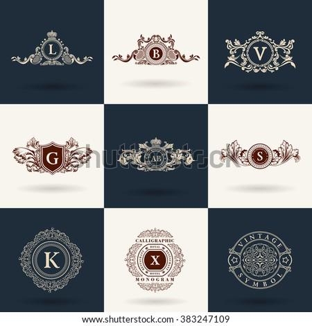 Luxury logos monogram. Vintage royal flourishes elements. Calligraphic symbol ornament. Letter L, B, V, G, A, S, K, X. Design luxury logos set. Vector pattern flourishes emblem set. Calligraphic frame