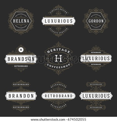 Luxury logos templates set, flourishes calligraphic elegant ornament lines. Business sign, badges and monograms for elegant crest, boutique brand, wedding shop, hotel sign, fashion designer.