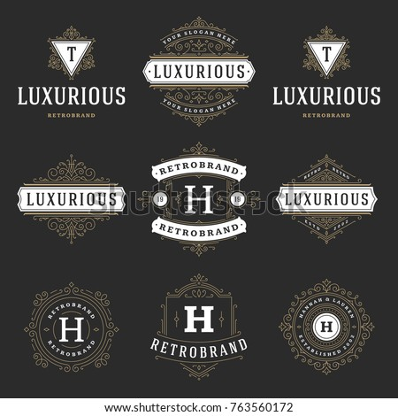 Luxury logos templates set, flourishes calligraphic elegant ornament lines. Business sign, badges and monograms for elegant crest, boutique brand, wedding shop, hotel sign, fashion designer.