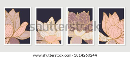 Luxury Lotus line arts cover design template. Hand draw gold lotus flower and leaves. Design for packaging design, social media post, cover, banner, Wall arts.  vector illustration.