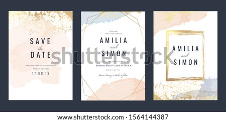 Luxury Marble Wedding invitation cards, Save The Date card design with rose gold and pink watercolour brush decoration style- Vector