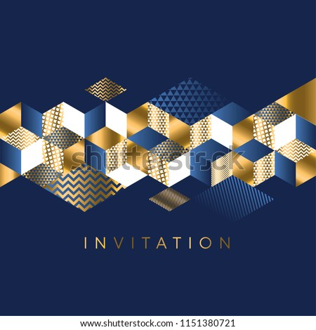 Luxury Marine geometric pattern for invitation. Geometry stock vector illustration. Gold and sea blue colors design element for elegant festive projects and awards.