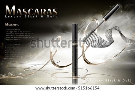 luxury mascaras ads  black and