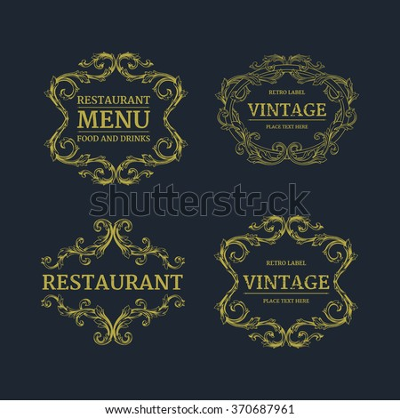 Luxury menu template flourishes calligraphic elegant ornament lines. Business sign, monogram identity for Restaurant, Boutique, Cafe, Hotel, Heraldic, Jewelry, Fashion and other vector illustration
