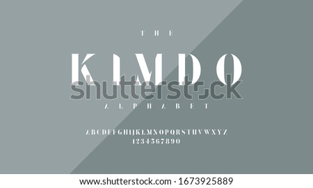luxury minimal classic modern typeface typo typography alphabet fonts and number, uppercase lowercase. Vector illustration.