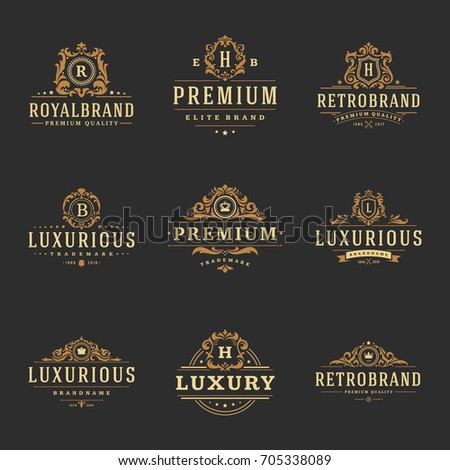 Luxury monograms logos templates vector objects set for logotype or badge Design. Trendy vintage royal ornament frames illustration, good for fashion boutique, alcohol or hotel brand.