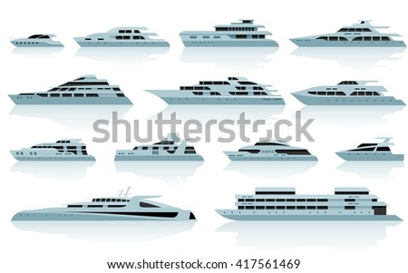 Luxury motor yachts in flat style. Vector icon set