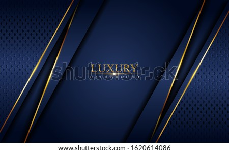 Luxury navy blue background combine with glowing golden lines. Overlap layer textured background design Foto stock ©