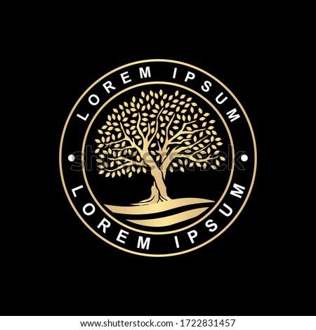 luxury oak tree stamp  badge or