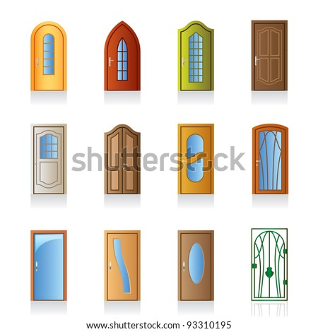 Luxury, office, classical and interior doors - vector illustration