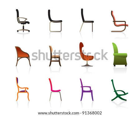 Luxury, office, interior and plastic chairs - vector illustration