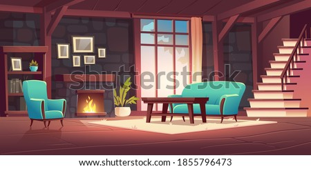 Luxury old living room interior with burning fireplace on stone wall, classic style furniture, couch, armchair and wood coffee table, flower vase, window and stairs, home cartoon vector illustration