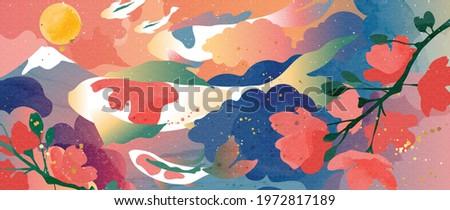 Luxury oriental style background vector. Japanese oriental line art with golden texture. Wallpaper design with Sakura flower and koi carp fish on Mount Fuji. Vector illustration.