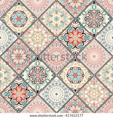 Luxury oriental tile seamless pattern. Colorful floral patchwork background. Mandala boho chic style. Rich flower ornament. Square design elements. Portuguese moroccan motif. Unusual flourish print.