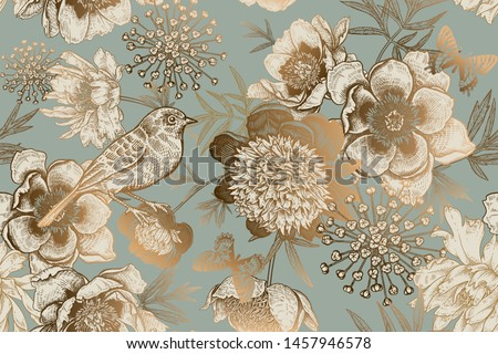 Luxury ornate pattern for creating textiles, wallpaper, paper. Print gold foil on a blue background. Seamless background with garden flowers peonies, bird and butterflies. Vintage. Vector Illustration Stockfoto ©