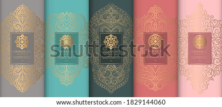 Luxury packaging design of chocolate bars. Vintage vector ornament template. Elegant, classic elements. Great for food, drink and other package types. Can be used for background and wallpaper. Photo stock ©