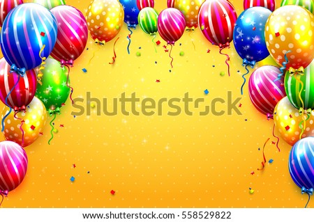 Free happy birthday vector background download free vector art luxury party balloons and confetti on orange background party or birthday invitation template stopboris Images