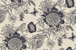 Luxury pattern for creating textiles, wallpaper, paper. Seamless background with garden flowers peonies, bird and butterflies. Vintage. Vector Illustration.