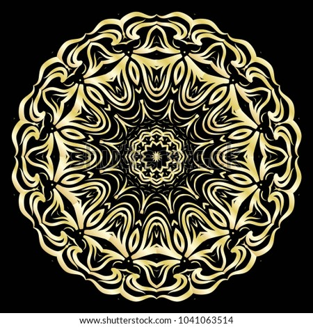 luxury pattern with gold mandala on black background. oriental design. vector illustration