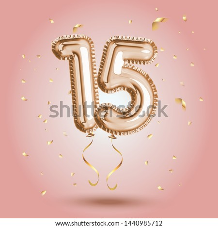 Luxury Pink Greeting celebration fifteen years birthday Anniversary number 15 foil gold balloon. Happy birthday, congratulations poster.   Golden numbers with sparkling golden confetti