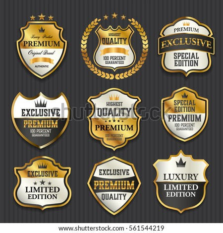 Luxury premium golden labels collection, vector illustration