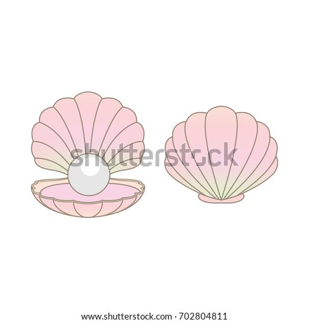 Luxury rainbow pearl in a clam shell vector illustration isolated on a white background.