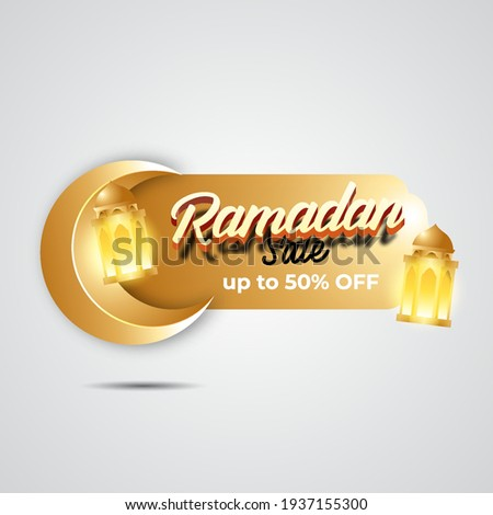 Luxury Ramadan sale banner with moon and islamic lantern. discount and Special offer ramadan sale tag. label and sticker for ramadan kareem and Eid Mubarak vector illustration